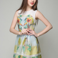 Multicolor Floral Sleeveless Skater Dress
