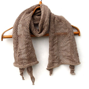 knit linen shawl, knitted lace summer scarf, knitting linen wrap, brown flax wrap, women men scarf, stole, handmade accessories, clothing