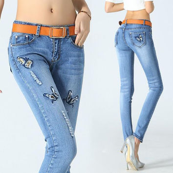 Yi La | Women Elasticity Stretch Skinny Slim Jeans With Butterfly Hole