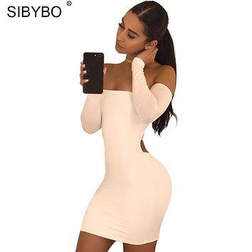 Sibybo Sexy Club Bandage bodycon Summer Dress Women Backless Lace Up Long Sleeve Off Shoulder Party Dresses Vestidos