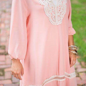 Mosaic Chiffon Long Sleeve Lace One Piece Dress = 5861877761