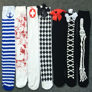 (2 Pairs/lot)HALLOWEEN COSPLAY THIGH HIGH SOCKS Women's Sexy Party Nurse Cos Pantyhose Cosplay Role Costume Sexy Socks Factory