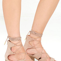 Take in the Sights Taupe Suede Lace-Up Heels