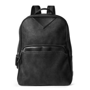 School Backpack trendy Brand Women Vintage Frosted PU Leather Black Laptop Male Korea Backpack Men Military Rucksack For Teenagers School Bag 180036 AT_54_4