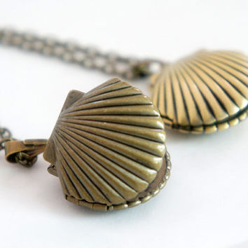 A Little Sea Shell - Vintage Style Dark Antiqued Brass Sea Shell Locket Necklace - LN024