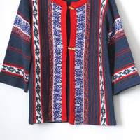 Vintage 70s Southwestern // Wide 3/4 Bell Sleeve Ikat Print Cardigan Sweater // Red White Blue // Size XS Extra Small / Small / Medium