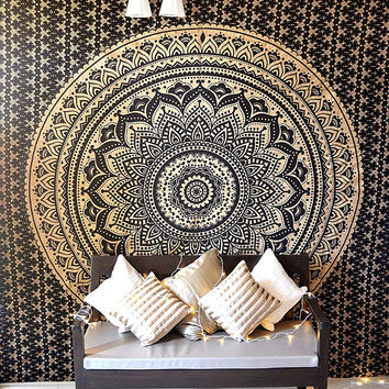Black Gold Ombre Indian Mandala Tapestry Hippie Indian Bedspread Dorm Decor Wall Tapestries Queen Size Handmade
