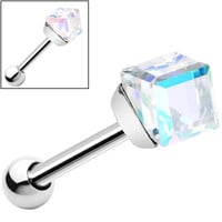 Silver 925 Aurora 4mm Crystal Cube Cartilage Tragus Earring | Body Candy Body Jewelry
