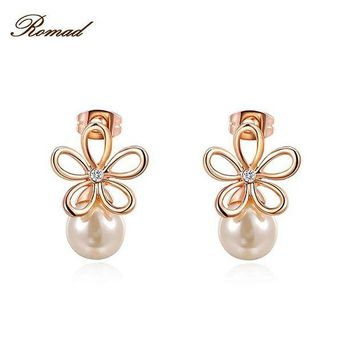 ac spbest Romad 2017 Fashion Jewelry Rose Gold Color Statement Flower Stud Earrings For Women Engagement Wedding Earrings
