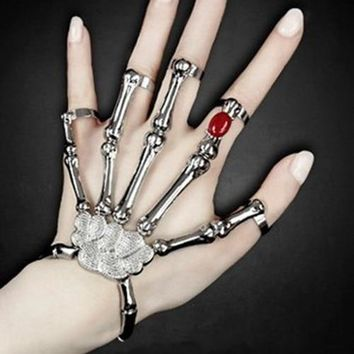 Gothic Punk Skull Finger Bracelet Redness zircon jewelry for Women Skeleton Bone Hand Bracelets Bangles Christmas Halloween Gift