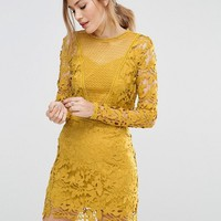 ASOS Mustard Lace Long Sleeve Panelled Shift Dress at asos.com