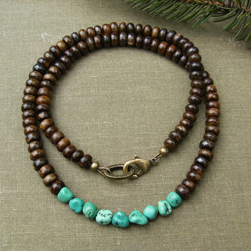 Men's Turquoise Necklace, Genuine Turquoise Nuggets, Brown Bronzite Gemstones, Casual Southwest Unisex Jewelry, Gift Idea for Men