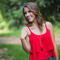 Layered Tank Top in Red
