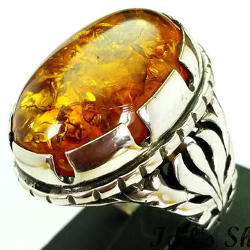 Men's Ring, Turkish Ottoman Style Jewelry, 925 Sterling Silver, Authentic Gift, Traditional, Handmade, With Amber Stone, US Size 11.5, New