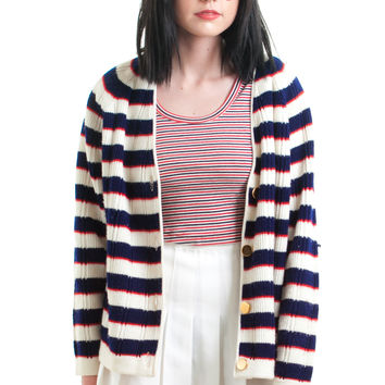 Vintage 60's Red, White, and Blue Cardigan - XS/S/M