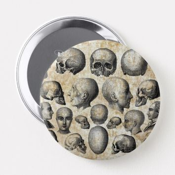 Human Skulls Anatomy Vintage Science Art Button