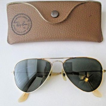 Gotopfashion Vintage RAY BAN Aviator Gold Frame Sunglasses w/ Original Case Bausch & Lomb