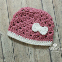 Baby Girls Crochet Hospital Cap - Newborn - Pink and White with Bow - Handmade Beanie - Hat - Photo Prop