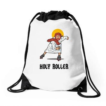 holy roller Drawstring Bags