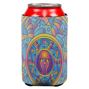 DCCKJY1 Mandala Trippy Stained Glass Jellyfish All Over Can Cooler