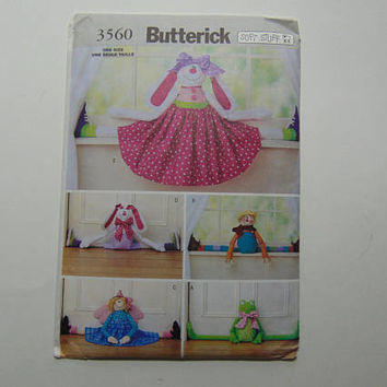 Butterick 3560 Sewing Pattern Draft Stoppers Frog, Scarecrow, Angel & Rabbits UNCUT