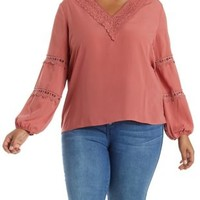 Plus Size Blush Crochet-Trim Long Sleeve Top by Charlotte Russe