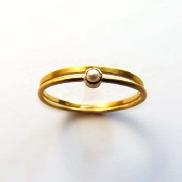 Thin Wedding Ring Set - Gold Pearl Ring - Engagement Ring - 22k Solid Gold