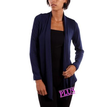 Curvy Girl Solid Cardigan,Black (Size 1XL)