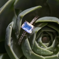 Solid 14kt Rosé Gold Moonstone Ring with Diamonds - Allegra