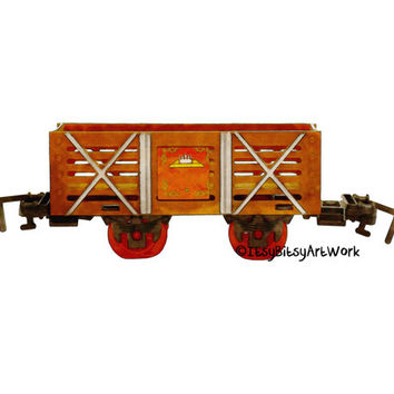 Train Box Cart Locomotive Art Print, Digital Watercolor Decor - Digital File Only, INSTANT DOWNLOAD Nursery Art, Kids Toddler Play Room