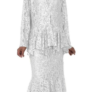 Hosanna 5084 Plus Size 3 Piece Set White Tea Length Dress