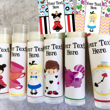 Wonderland Lip Balm- Set of 5 - Alice - Birthday - Wonderland Party - Looking Glass Party Favors-Invitation - Alice Birthday Card - Favors
