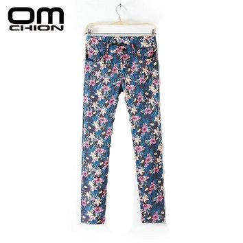 New Pants Women Summer Fashion Floral Printed Long Trousers Women Casual Pockets Flat