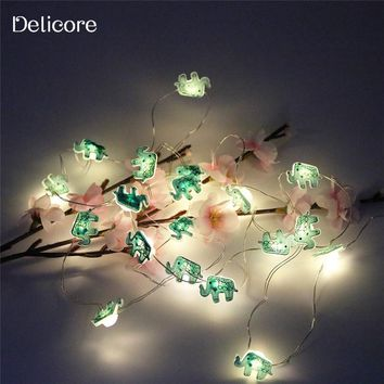 DELICORE 2M 20 LEDs Elephant battery operate Copper LED fairy string lights for Christmas wedding decoration party event S131