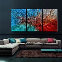 """Original Modern Abstract art 72"""" Colorful Contemporary Wall Art Canvas Decor Decor Online Gallery for Gift by Artist Nandita Albright"""