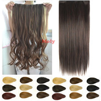"17""23"" 24"" 26"" 3/4 Full head clip in Synthetic hair extensions human made hair"