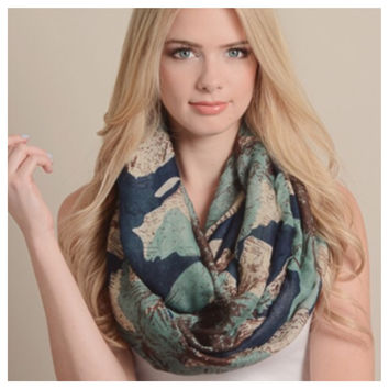 """""""Always My Style"""" Large Floral Print Infinity Scarf"""