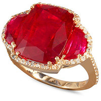 Rosa by Effy 14k Rose Gold Ring, Ruby (12-5/8 ct. t.w.) and Diamond (3/8 ct. t.w.) Ring - Rings - Jewelry & Watches - Macy's