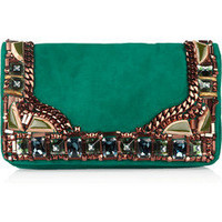 Matthew Williamson Embellished suede clutch – 60% at THE OUTNET.COM