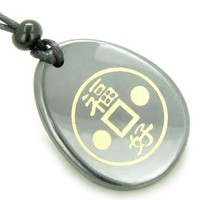 Fortune Lucky Coin Circle Hematite Amulet Word Stone Necklace