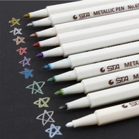 Sta 10 pcs/Lot Doodle Drawing Marker Pens Metallic Pen For DIY Photo Black Cardboard Stationery School Paint Marker Art supplies