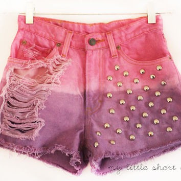 High Waisted Studded Distressed Dip Dyed Denim Shorts (XS)