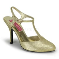 Flapper Shoes-Bordello Violette Gold Glitter T Strap Pumps