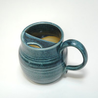 Large mustache mug,pottery man mug,Husband gift,Father's gift,mustache protector,Clay tankard,ceramic stein,teal pottery cup,