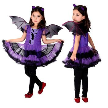 Batman Dark Knight gift Christmas Holiday Fancy Masquerade Party Batman Bat Girl Costume Children Cosplay Dance Dress Costumes for Kids Purple Clothing AT_71_6