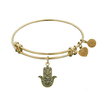 Antique  Stipple Finish Brass Hamsa Angelica Bangle, 7.25 Inches Adjustable