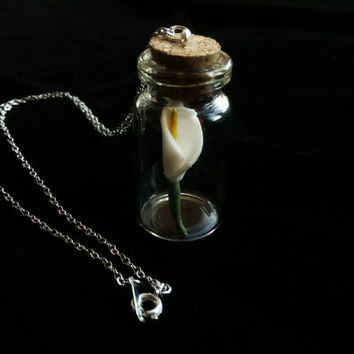 Tulip in a Bottle Necklace