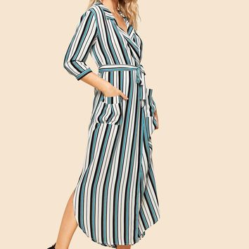 Notch Collar 3/4 Sleeve Striped Duster Coat