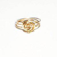 Dainty Gold Ring Stacking Ring Size 2 3 4 5 6 7 8 9 10 11 12 13 Knot Ring Rose Ring Knotted Ring Gold Wire Ring Gift Idea Under 15