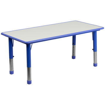 23.625''W x 47.25''L Height Adjustable Rectangular Blue Plastic Activity Table with Grey Top